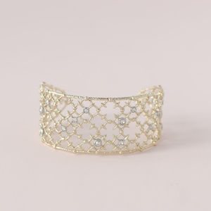 ALEXIS BITTAR Gold Crystal Studded Spur Lace Cuff